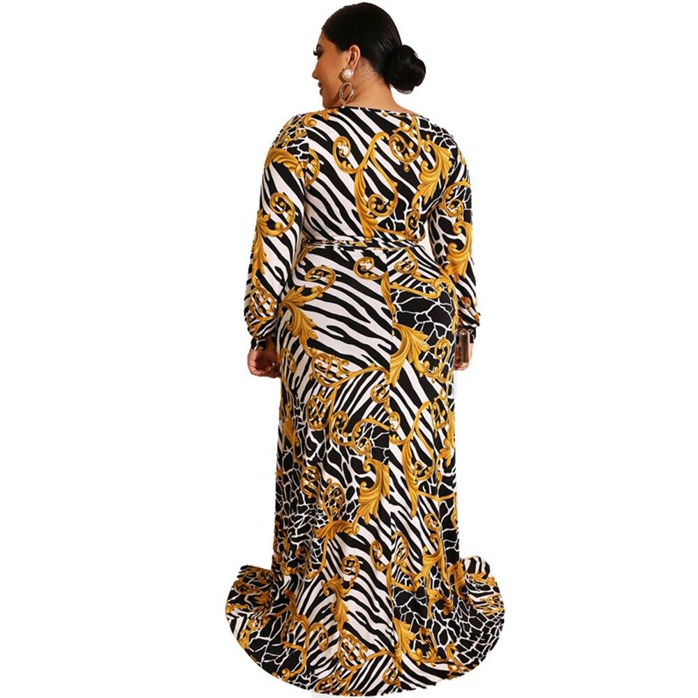 Women Plus Size Dress Sexy Wrap Buttocks Dress Female Flower Print Split Hem Vestidos Deep V-neck Long Sleeve Party Long Dresses