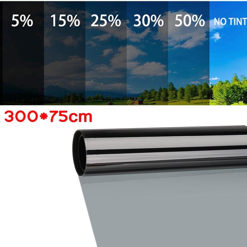 300x75 ซม.หน้าต่างTint Tintingม้วนฟิล์มAuto Homeกระจกหน้าต่างฤดูร้อนSOLAR UV Protectorสติกเกอร์-ระเบิดWindow Foils
