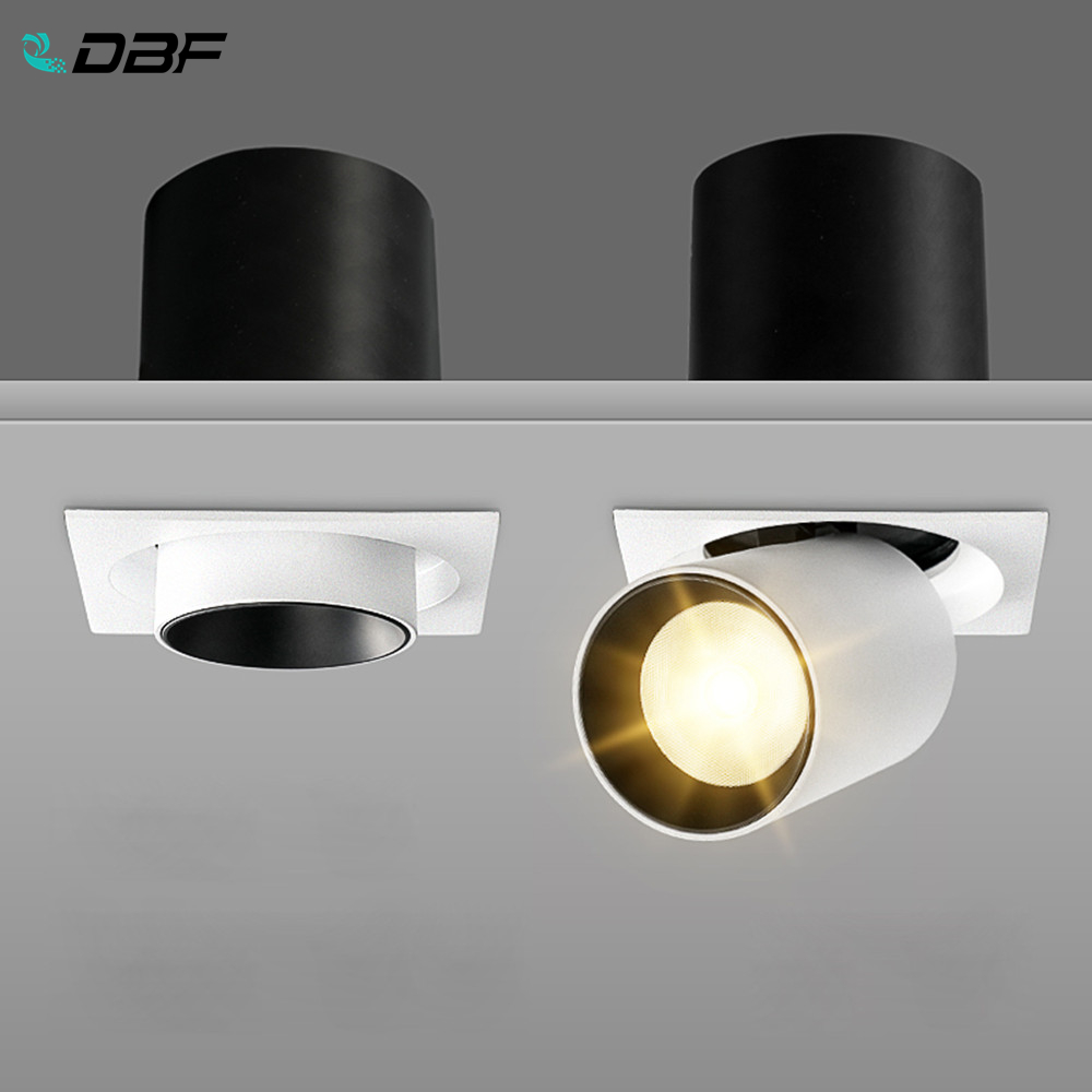 [DBF]Square Angle Adjust Stretchable LED COB Recessed Downlight 7W 10W 12W LED Ceiling Spot Light Kitchen Living room Indoor