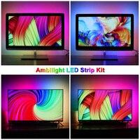 2/3/4/5m Ambilight TV PC Backlight Dream Screen HDTV Computer Monitor USB LED Strip Addressable 5050 LED Strip Full Set