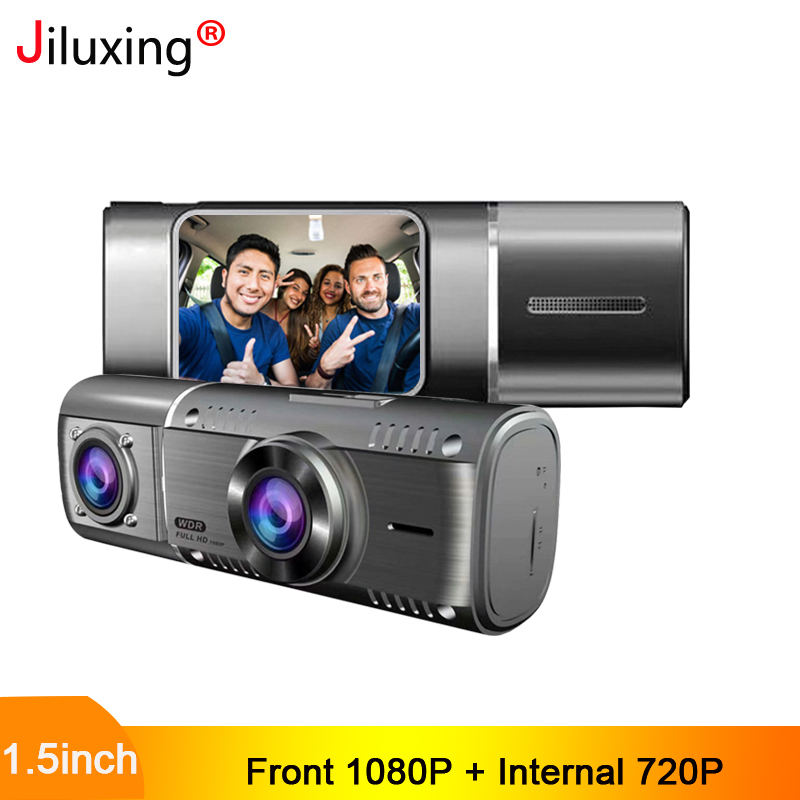 Jiluxing Front 1080P + Internal 720P Dash Camera 1.5inch mini <font><b>Car</b></font> <font><b>DVR</b></font> <font><b>two</b></font> <font><b>cameras</b></font> Video Recorder Vehicle camera 24H Park monitor image