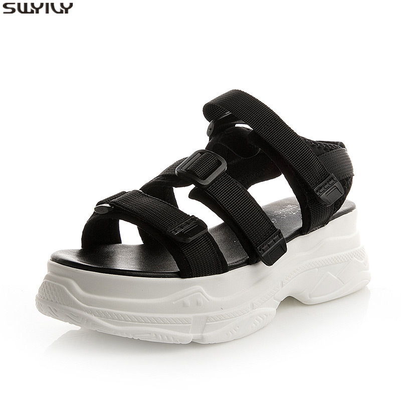 SWYIVY Cotton Fabric Chunky Sneakers Ladies Fashion Shoes Woman Sandals 2020 Summer Hook Loop Wedge Shoes For Women's Sandals 34