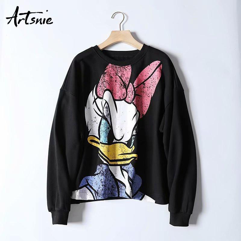 Artsnie Black Casual Cartoon Print Women Sweatshirt Autumn 2019 O Neck Drop Shoulder Hoodies Knitted Streetwear Sweatshirts