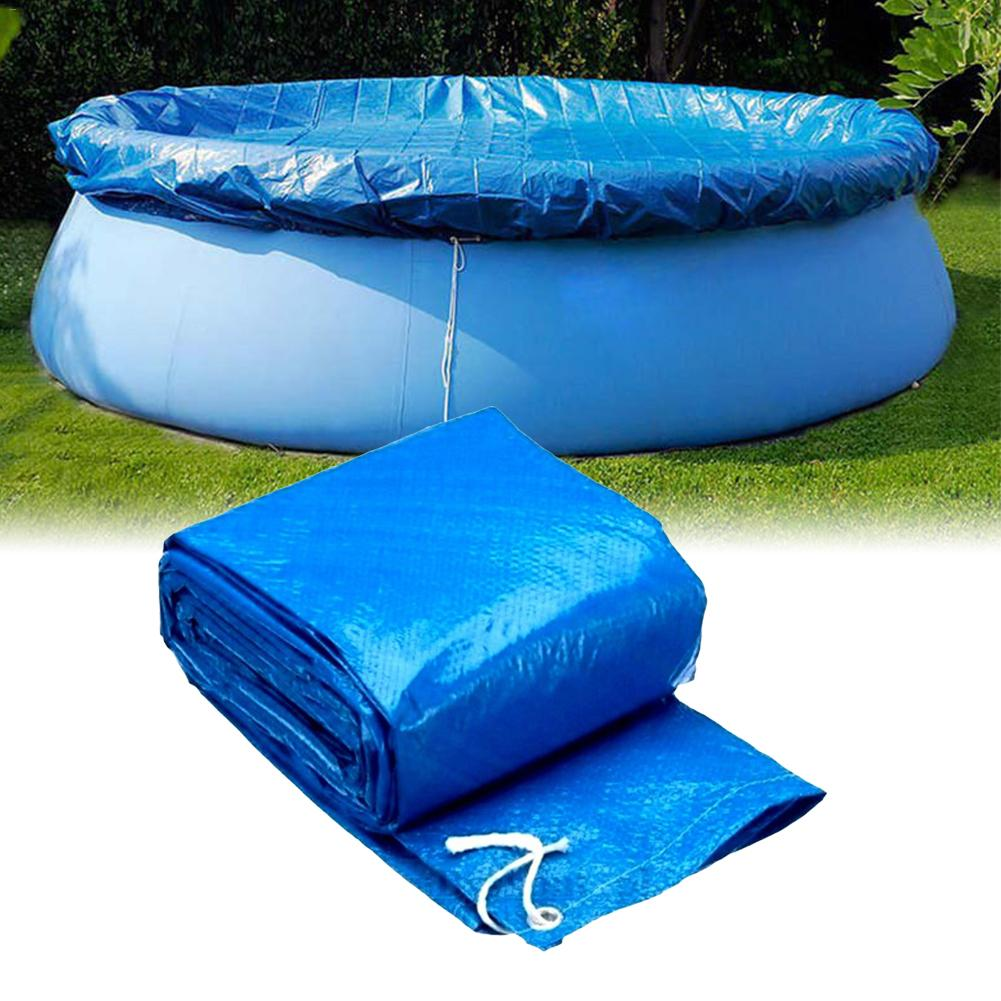 Large Size Swimming Pool Cover Cloth Bracket Pool Cover Inflatable Swimming Pool Dust Cover Diaper Round PE For Outdoor Garden