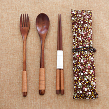 Wooden Natureal Portable Tableware Cutlery Sets Travel Dinnerware Suit Environmental with Cloth Pack Gift