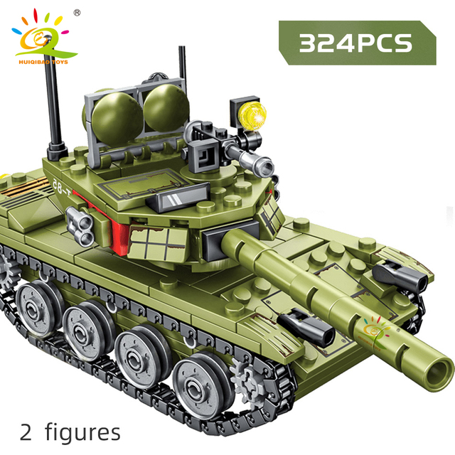 HUIQIBAO 324pcs Military 85 Main Battle Tank Building Blocks WW2 Army Soldier Figures Bricks Educational Toys for Children Boy