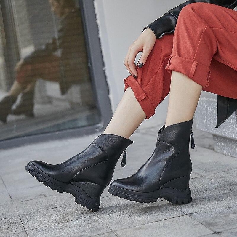 WETKISS Kuh Leder Stiefeletten Frauen Keile Booties Plattform Schuhe Weibliche Runde Kappe Keile Zip Schuhe Damen Winter 2020 Neue - 6