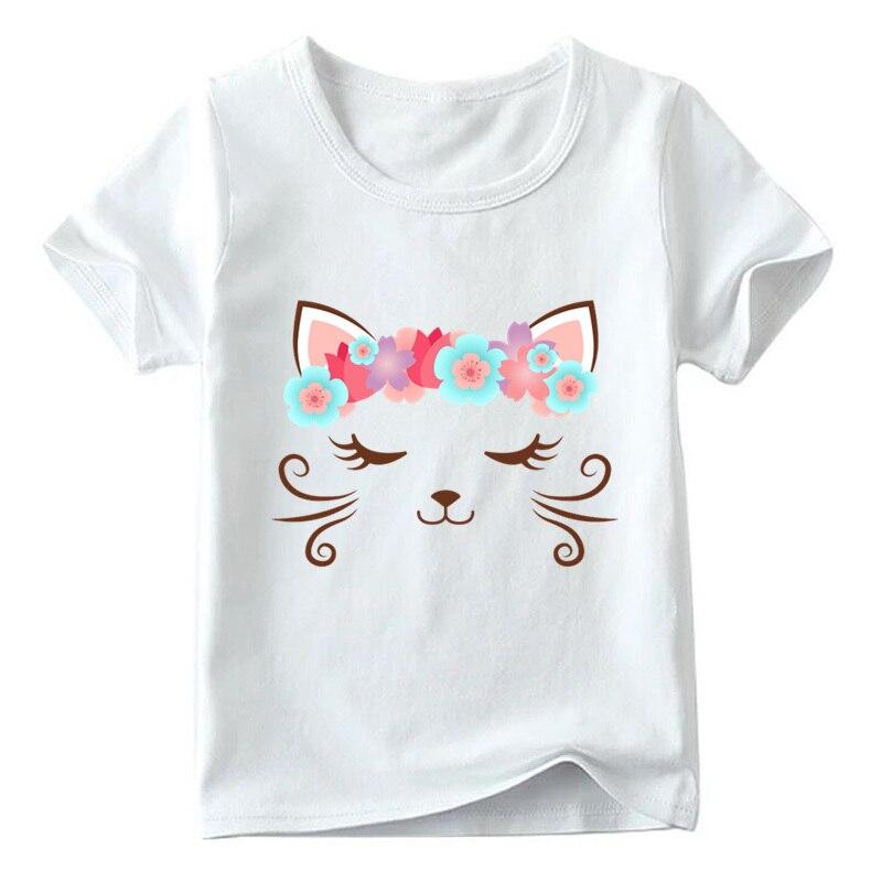Children Cute Flower Cat Face Funny T shirt Summer Baby Boys/Girls Cartoon Tops Short Sleeve T-shirt Kids Clothes 9