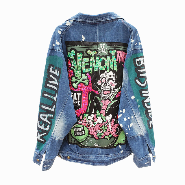 Jeans Jacket Women Streetwear Fashion Graffiti Print Sequins Denim Jacket Lapel Long Sleeves Hip hop Female Loose Jeans Coat