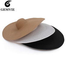 GEMVIE Oversize Hollow Paper Straw Hat For Women Summer Packable Big Wide Brim Sun Beach 2020