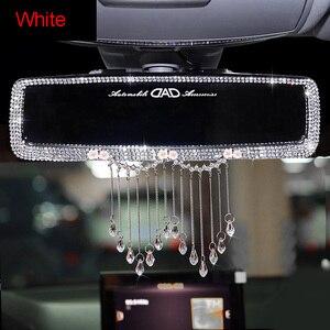 Image 4 - Criativo strass borlas interior do carro espelho retrovisor decoração charme flor cristal espelho traseiro ornamentos acessórios do carro