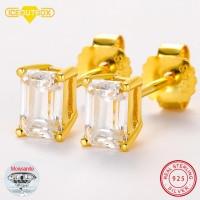 2pcs 0.7ct Baguette Moissanite Diamond Stud Earrings 100% 925 Sterling Silver For Women Girls Men Special Christmas Gift 1.4CTW 1