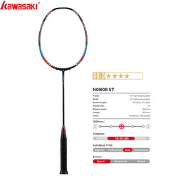 Raquetas de bádminton Kawasaki 2020, raqueta de marco de fibra de carbono tipo ataque HONOR S7 40T para jugadores de amateur intermedio