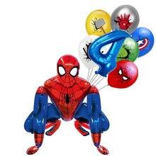 1 conjunto 3d homem aranha ferro herói balões da folha de alumínio conjunto festa aniversário decoração do chuveiro do bebê suprimentos globos