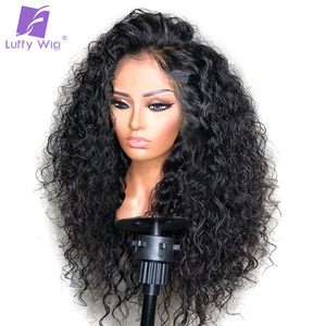 Image 1 - 13x4 Curly Lace Front Wig 180Density Glueless Deep Part Preplucked Remy Brazilian Human Hair Wigs Bleached Knots For Women LUFFY