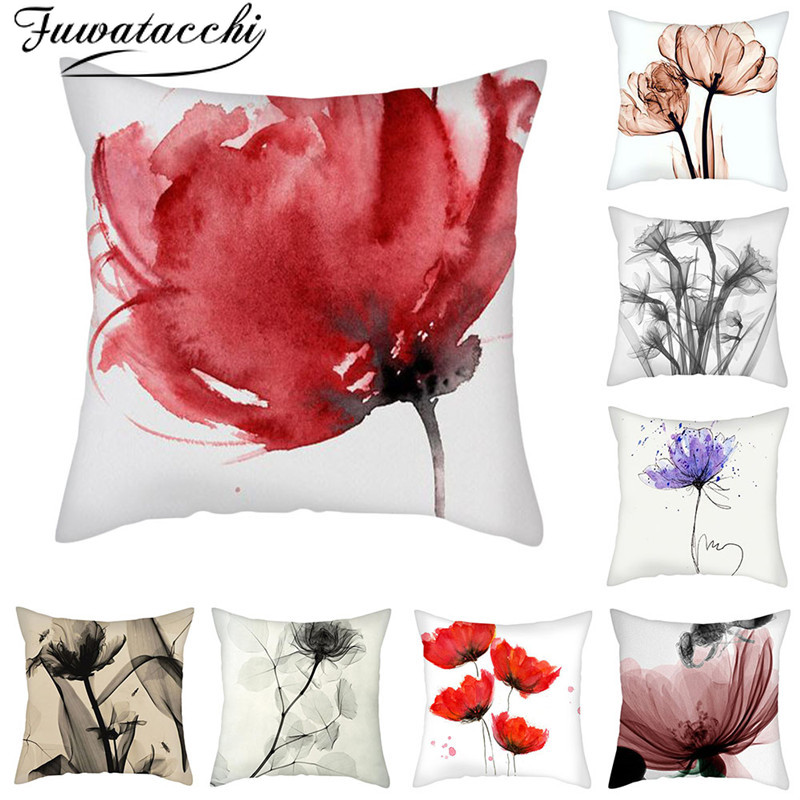 Fuwatacchi Pink White Pattern Gift Pillow Covers Flower Pattern Cushion Cover For Home Sofa Decorative Throw Pillowcase 45*45cm
