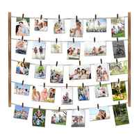 26×29 inch Wood Picture Photo Frame Display Pictures Organizer Hanging Wall Decorations Photo Display Frame with 30 Clips