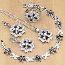 ดอกไม้เงิน 925 สีขาว & สีดำCubic Zirconiaชุดเครื่องประดับสำหรับผู้หญิงPartyต่างหู/จี้/สร้อยคอ/แหวน/สร้อยข้อมือ
