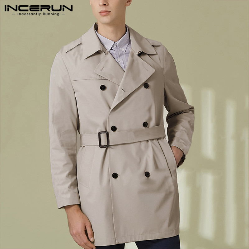 INCERUN Streetwear Outerwear Men Solid Double Breasted Casual Trench Coats Vintage Social Belt Turn-down Collar Mens Windbreaker