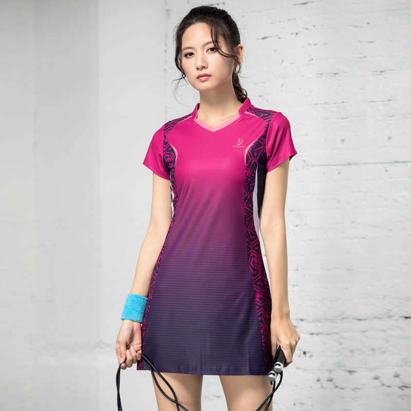 Badminton Wear Women's Dress 2019 New Spring and Summer Short Sleeve Quick-drying Slim Tennis Sports Suit Sport Dress