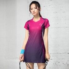 Badminton wear vestido feminino 2019 nova primavera e verão manga curta secagem rápida fino tênis esporte terno vestido