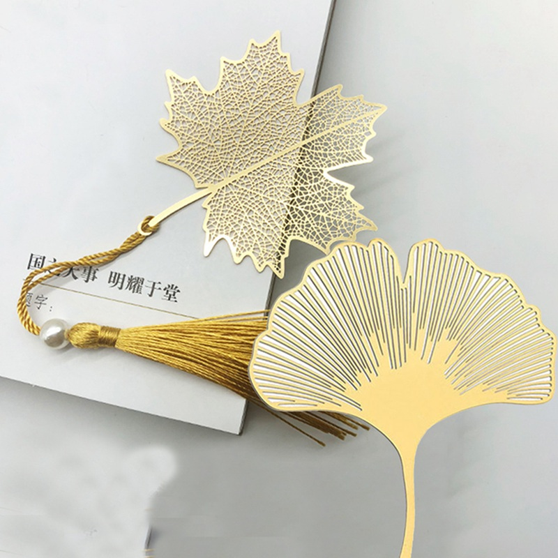 Vein Tasseled Leaf Bookmarks Literature Art Students Supplies Brass Leaf Bookmarks Gifts