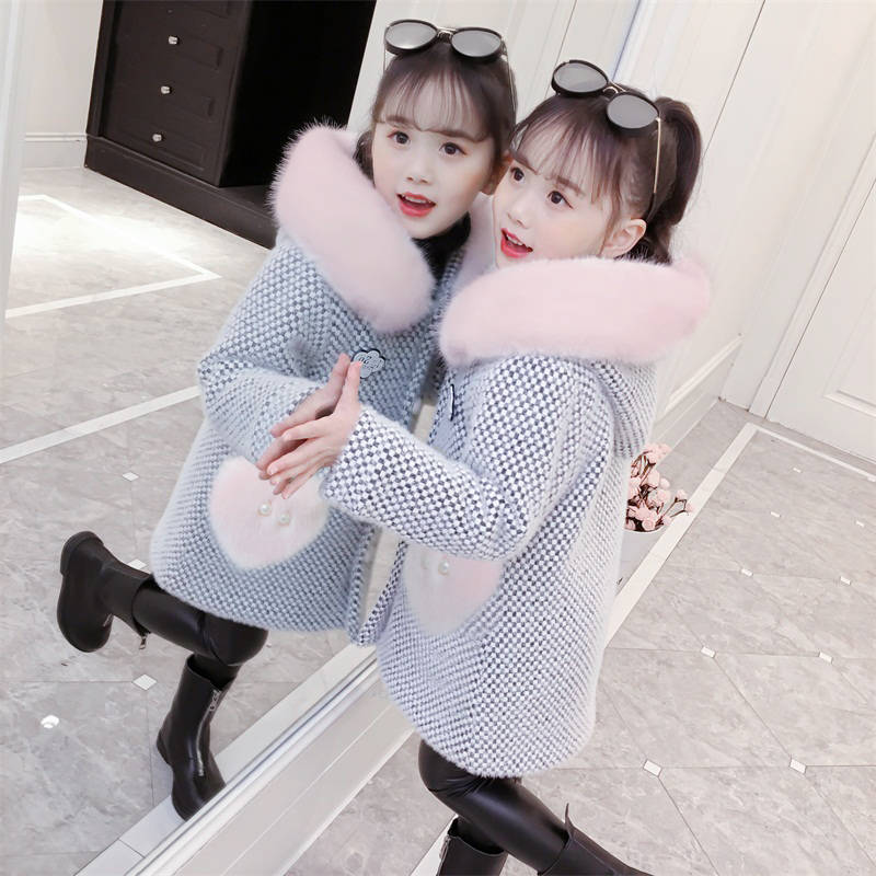 2019 Autumn Winter Kids Girls Faux Mink Fur Wool Outerwear Children Thick Warm Cardigan Coat Teens Girls Plaid Jackets Q296