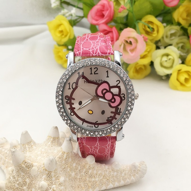 Hello Kitty Cat Casual Girl Watch Kids Cute Leather Strap Watches Rhinestone Lovely Kid Children Quartz Wristwatch Clock