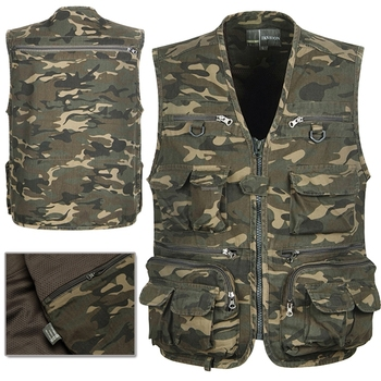 Men Camouflage Fishing Hunting Vest Cargo Outdoor Game Outwear Waistcoat Multi-Pocket Photography Recreational Fishing Vest b new spring men s two sided vest multi pocket multi pocket vest men casual fishing photography vest plus size s 4xl