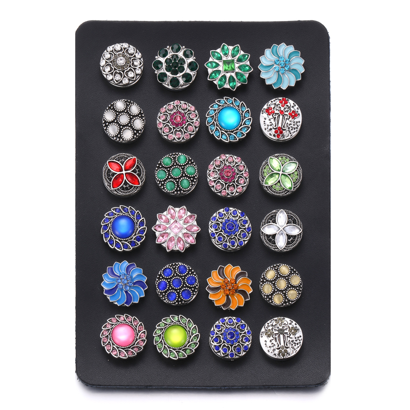 New Snap Button Jewelry Black Leather Snap Display for 24pcs 18MM & 12MM Snap Buttons Jewelry Display Soft Displays Holder image