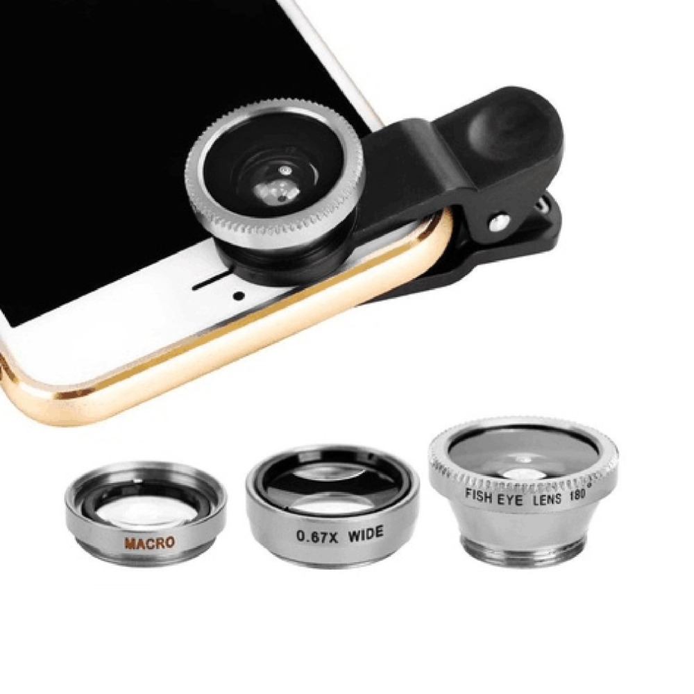 3-in-1 Wide Angle Macro Fisheye Phone Camera Lenses With Clip for iPhone Samsung All Cell Phones 10