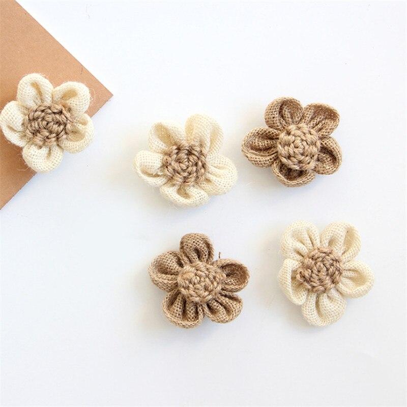 1/2/5pcs/Lot DIY Flowers Jute Burlap Hessian Flower Vintage Wedding Decoration Scrapbooking Craft Accessories