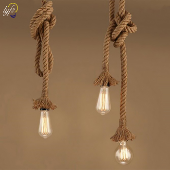 Hemp Rope Pendant Lights Base E27 Loft Industrial Retro Hanging  Lamp for Living Room Kitchen Home Lamp Fixtures Decor Luminaire solled vintage rustic hemp rope ceiling lamp chandelier wiring e27 220v pendant lights for living room bar decor