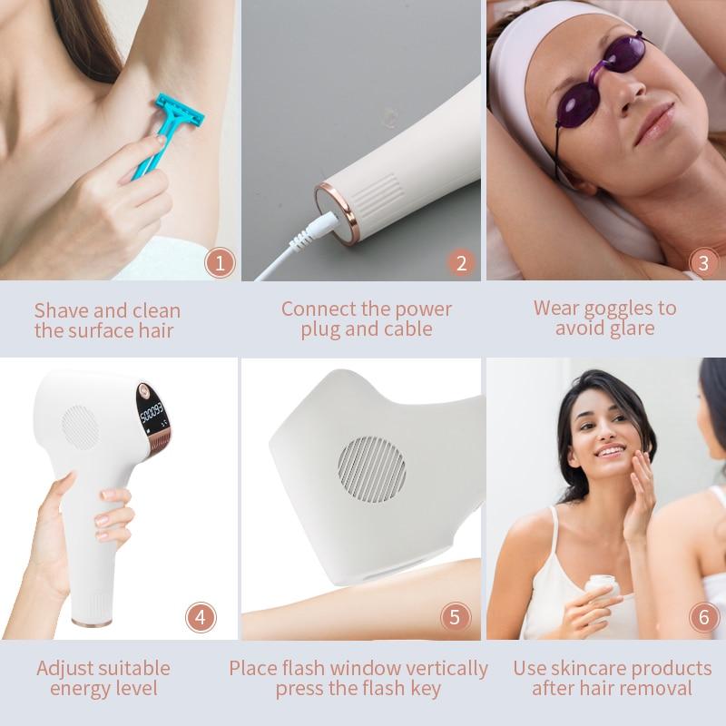 Image 5 - 500000 Pulsed IPL Permanent laser Hair Removal lazer epilasyon laser Epilator for women men facial Armpit Bikini Beard Legs-in Epilators from Home Appliances
