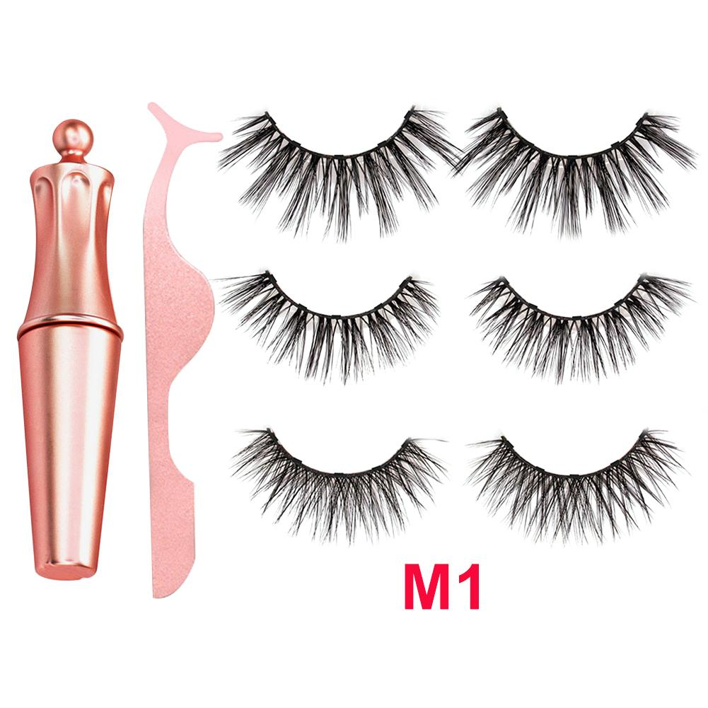 Magnetic Eyeliner Eyelashes Kit Magnetic 3D Eyelashes & Liquid Eyeliner With False Lashes Eyelash Curler Reusable Falses Eyelash