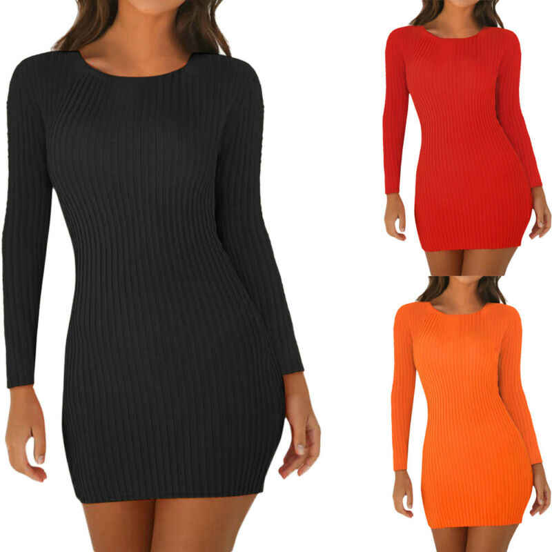 2019 אופנה חדש לגמרי חמה נשים גבירותיי סקסי מוצק צבע ארוך שרוולי סקופ צוואר Racerback טנק Bodycon עיפרון Midi שמלה