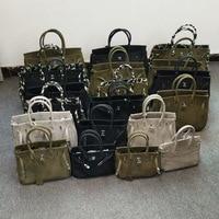 Модная женская текстильная сумка через плечо Военная Зеленая утепленная вместительные сумки замок Платиновый пакет японский стиль сумка н...