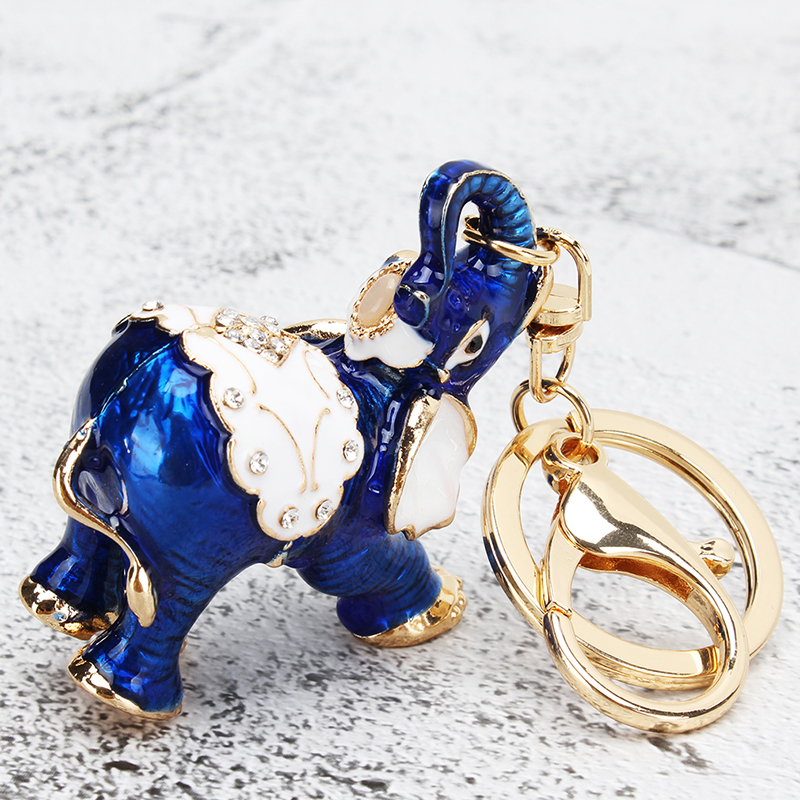 Buy Fashion Key Chain Cute Rhinestone Alloy Elephant Ring Holder Keychain Animal Pendant Wholesale For Women Jewelry for only 4.19 USD