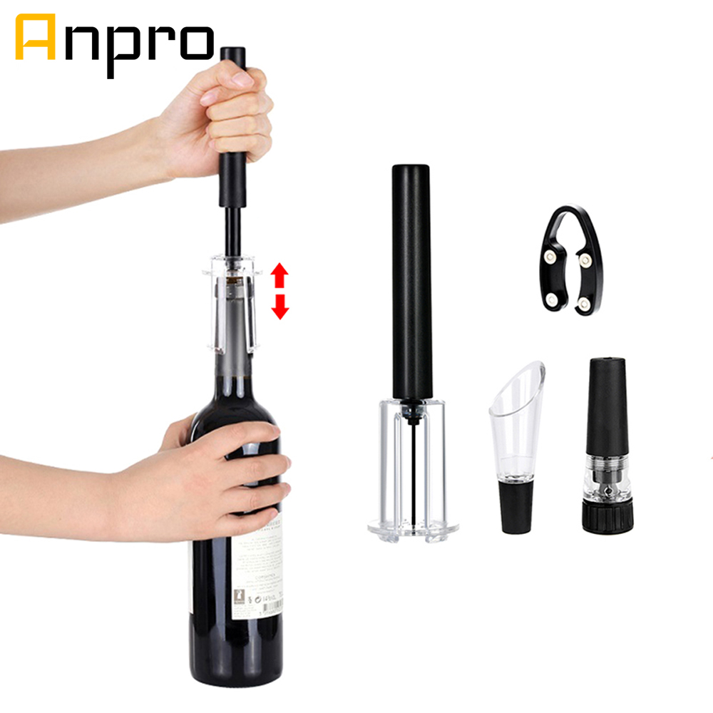 Anpro Red Wine Opener Vacuum Wine Stopper Corks Corkscrews with Foil Cutter Air Pressure Wine Bottle Opener(China)