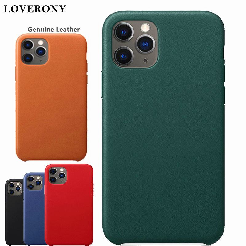 LOVERONY Genuine <font><b>Leather</b></font> Phone <font><b>Case</b></font> For <font><b>iPhone</b></font> 11 Pro Max XS X XR Back Cover Metal Button Luxury <font><b>Logo</b></font> <font><b>Case</b></font> For <font><b>iPhone</b></font> <font><b>8</b></font> 7 Plus image