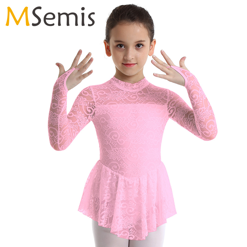 Girls Kids Ice Skating Dress Ballet Leotard Long Sleeve Dance Dresses Dancewear