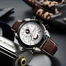 Military Sport Watch Men Top Brand Luxury Leather Army Quartz Watches Clock Men Creative Chronograph Relogio Masculino