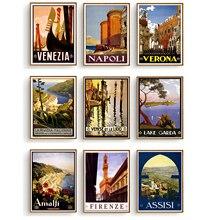 Carteles de viaje de Italia Venecia Firenze Napoli lienzo pintura Vintage Kraft niños póster clásico arte de pared pegatinas para guardería