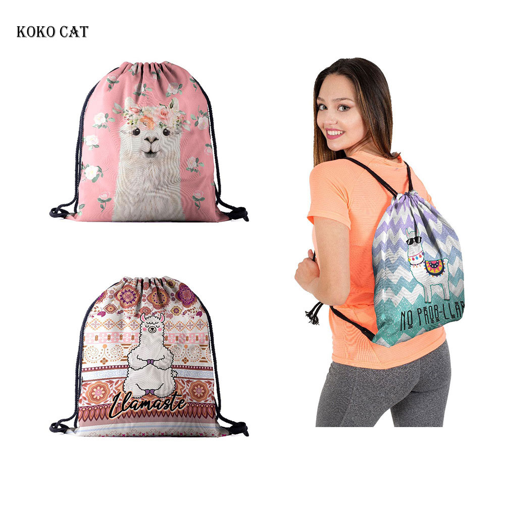 Koko Cat Fashion Women Drawstring Backpack Alpaca Printing Travel Softback Shoes Storage Package Birthday Party Bags Mochila