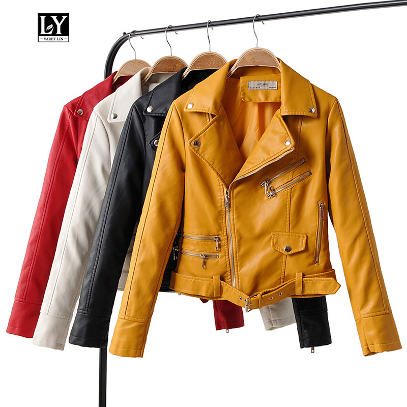 Ly Varey Lin Autumn Winter Women Faux Pu Motorcycle Short Jacket Faux Soft   Leather   Zipper Turndown Collar Outwear With Belt