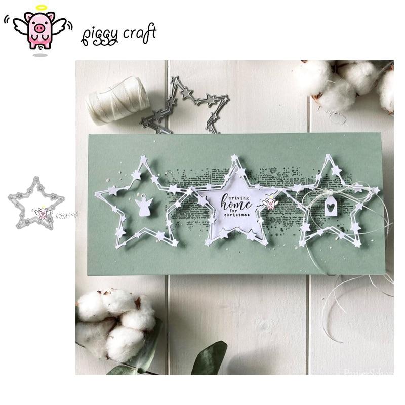 Piggy Craft metal cutting dies cut die mold Stars frame decoration Scrapbook paper craft knife mould blade punch stencils dies
