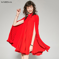 wreeima red cape dress elegant casual Stand Neck Mini dresses for women sleeveless Loose Autumn 2019 robe party noble clothing