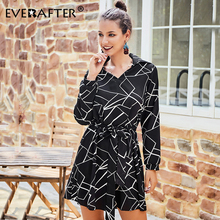 EVERAFTER Elegant Striped Print Turn-down Collar Women Dress Lace up Long Sleeve Casual Sashes Chiffon Mini Party Dresses Autumn spring autumn shirt dress women turn down collar full sleeves casual striped button belt dresses mini vestidos s xl 2019