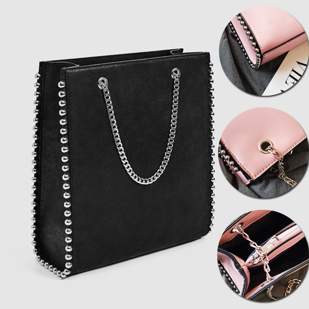 Fashion Bag For Women's Shoulder Bag Rivet Designer Shopping Handbags 2019 Quality PU Leather Chain Tote Girl Lady Crossbody Bag