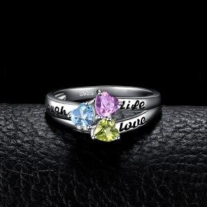 Image 2 - JewelryPalace hayat aşk gülmek kalp hakiki Peridot ametist Topaz yüzük 925 ayar gümüş yüzük kadınlar için söz yüzüğü takı